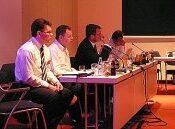 ISTQB-Neuwahlen: v.l. Horst Pohlmann, Eric van Veenendaal, Rex Black, Chris Carter