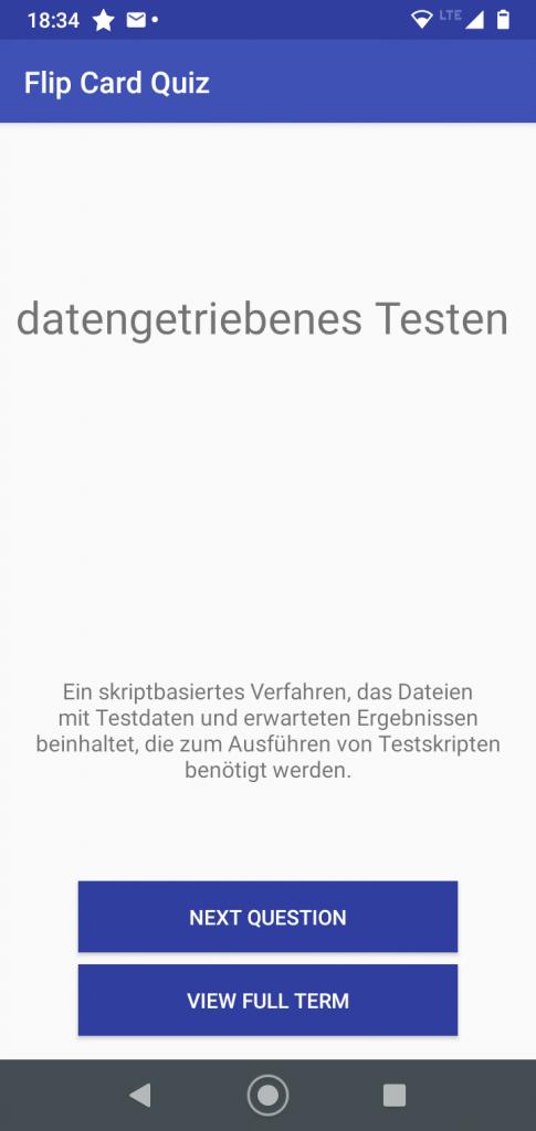 Screenshot einer Smartphone-App